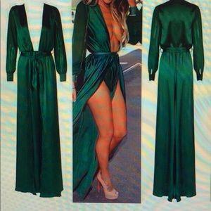 Green Long Sleeve Sexy High Slit Dress